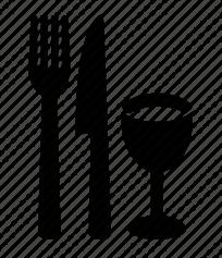 fork, knife & glass