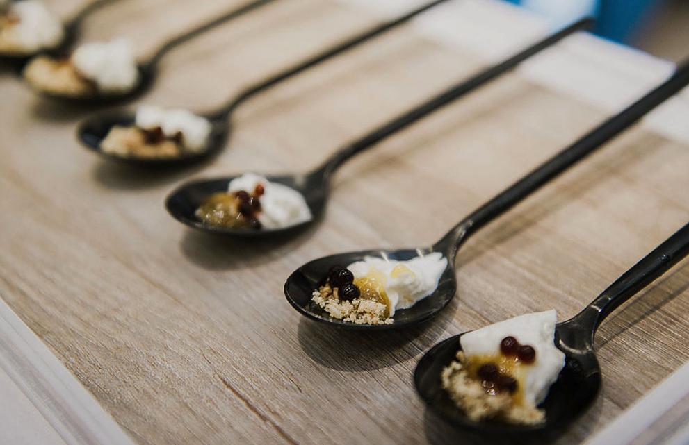 Spoons holding delicious bites
