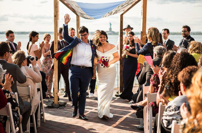 gorgeous outdoor lesbian wedding