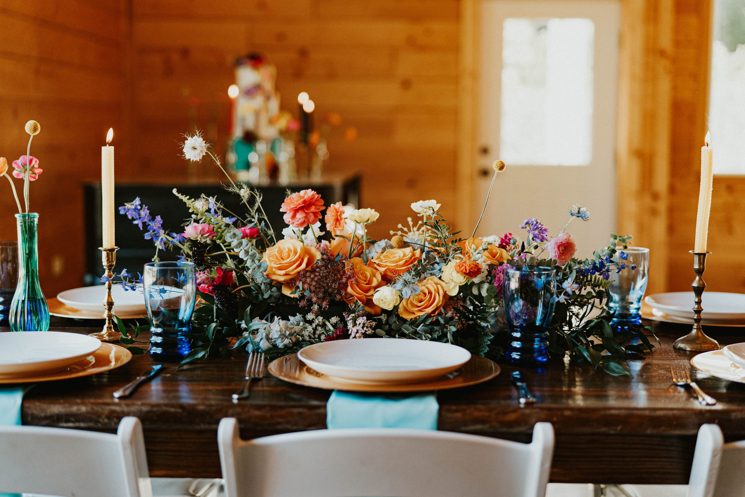 a beautiful table with flowers