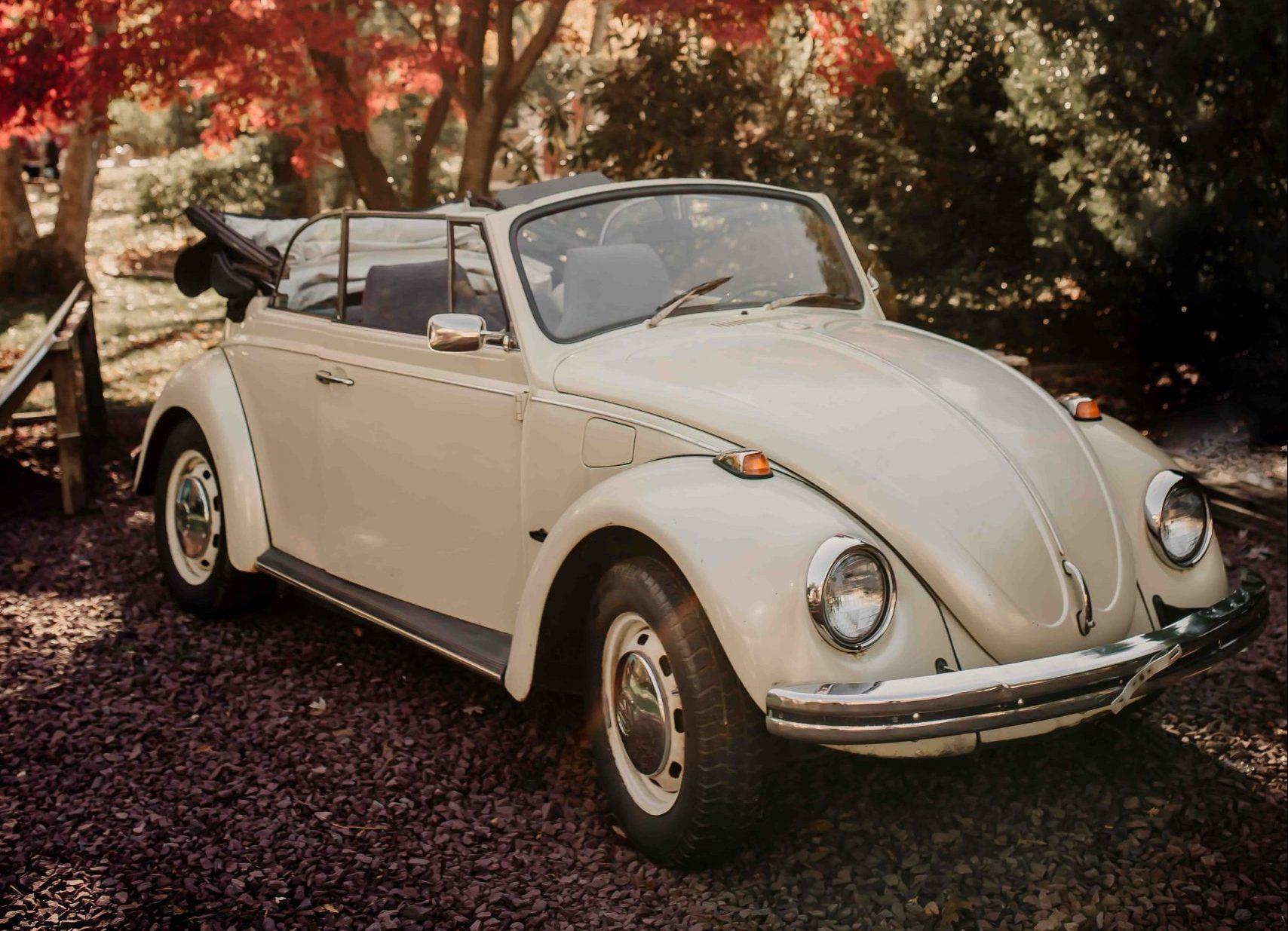 vintage cream-color Volkswagen Beetle