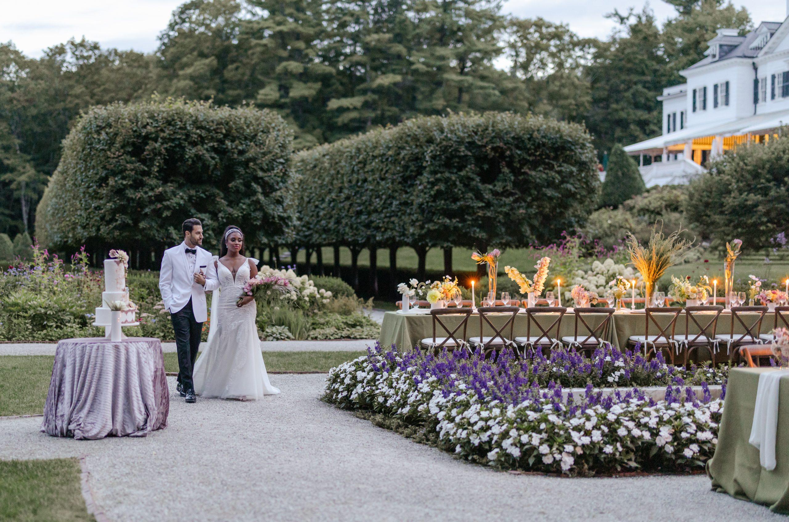 a bride and groom in chic attire