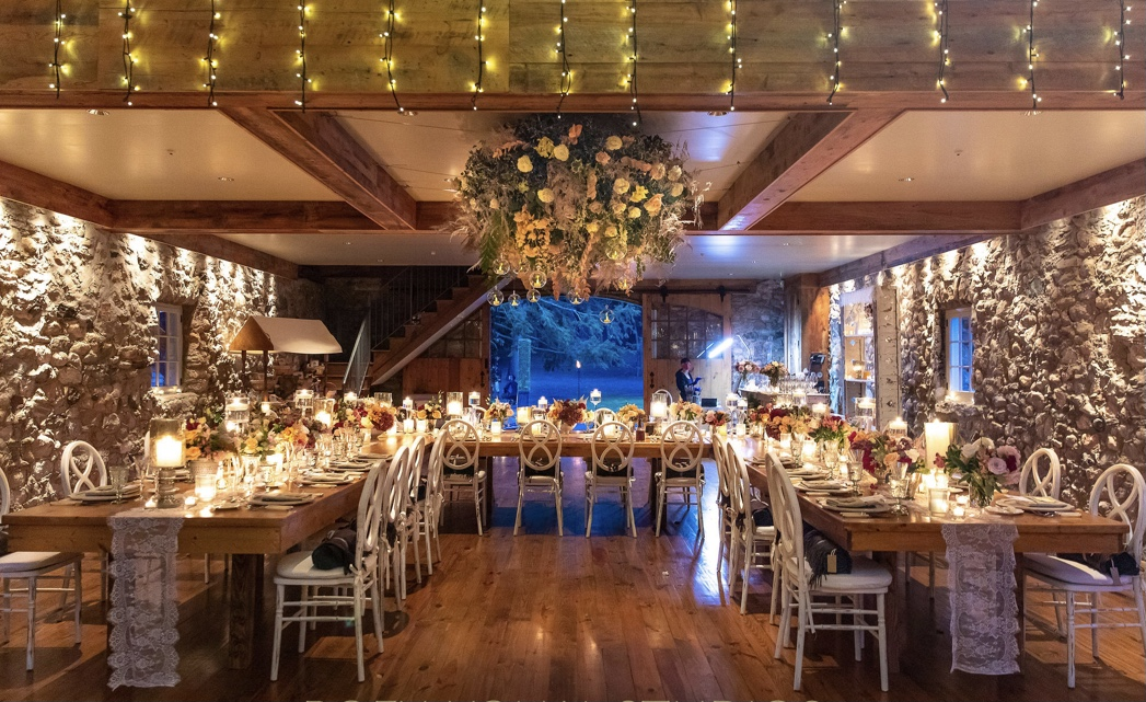 a beautifully decorated wedding ballroom